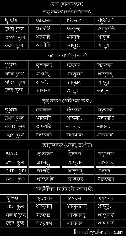 आप् धातु के रूप संस्कृत में – Aap Dhatu Roop In Sanskrit