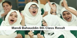Mandi Bahauddin 8th Class Result 2018 PEC - BISE MBDin Board Results Announced Today