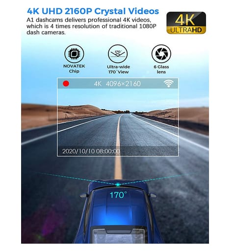 Peztio 4K Ultra HD WiFi Car Dash Cam