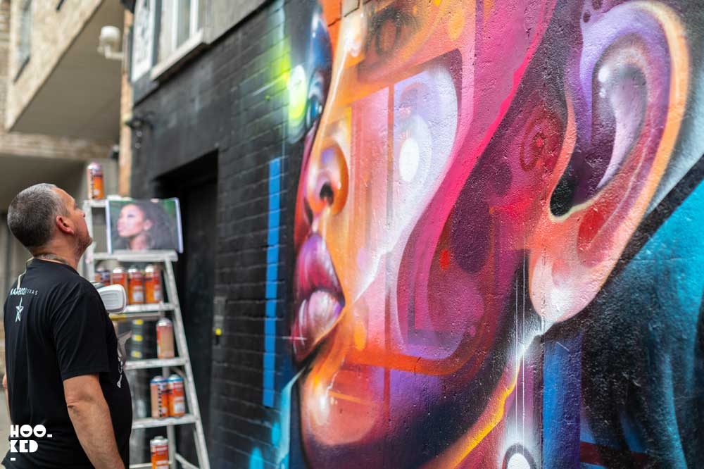 London Street Art - Bacon Street Mural by Graffiti artist Mr.Cenz
