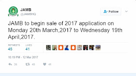 Jamb 2017: Sales of form to begin On Monday, 20th March