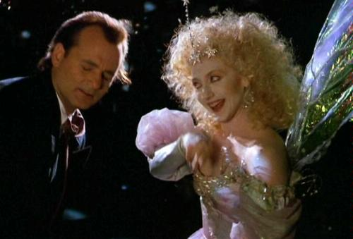 Bill Murray and Carol Kane in Scrooged 1988 movieloversreviews.filminspector.com