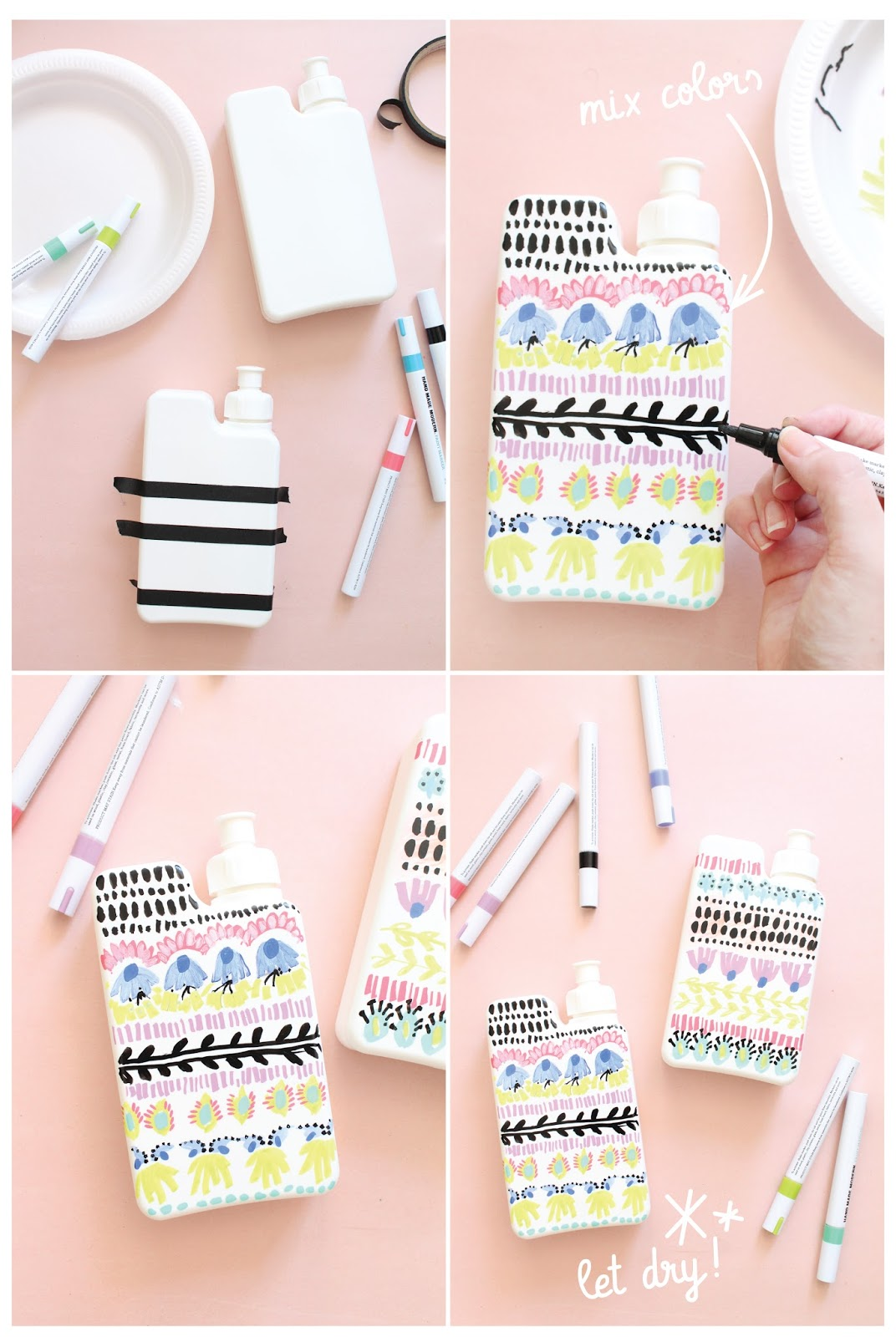 DIY patterned water bottles for back to school