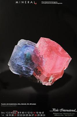 mineral, calendario, fluorita, rodocrosita