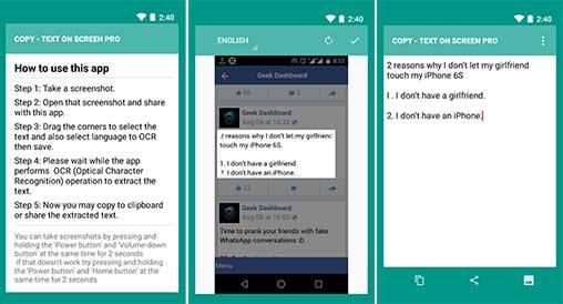تطبيق Copy Text on screen pro