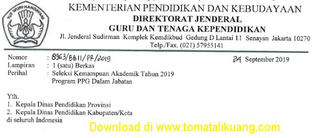 seleksi kemapuan akademik; serifikasi guru; ppg 2019; tomatalikuang.com