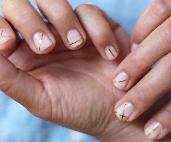 Cute Neutral Nail Designs Gold Stripes