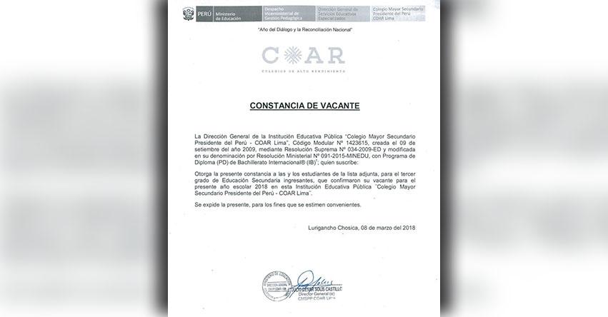 COAR: Constancia de Vacante (Ingresantes 2018) www.minedu.gob.pe