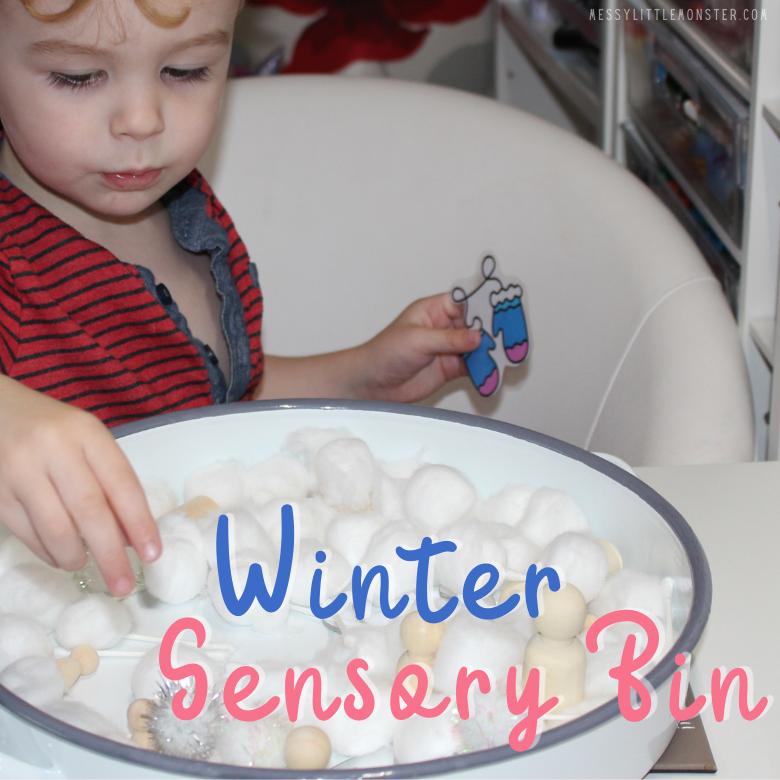 winter sensory bin