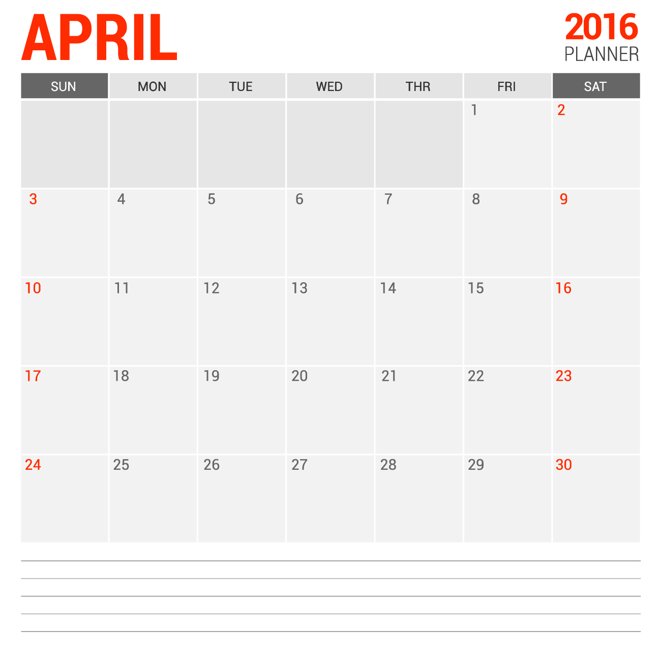 Printable blank calendar for April 2016 with notes
