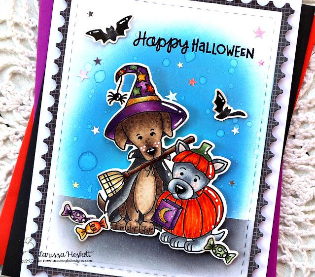 Happy Halloween Dog Card by Larissa Heskett   Happy Howl-oween Stamp Set, Batty Newton Stamp Set and Framework Die Set by Newton's Nook Designs #newtonsnook