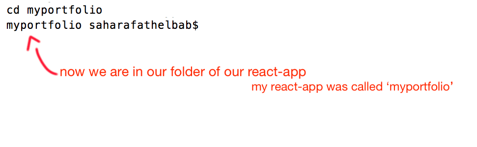 a snapshot of me using cd terminal to get to my create-react-project on my laptop