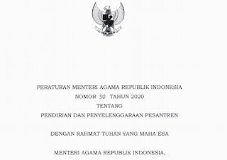 Unduh PMA Nomor 31 Tahun 2020 tentang Pendidikan Pesantren