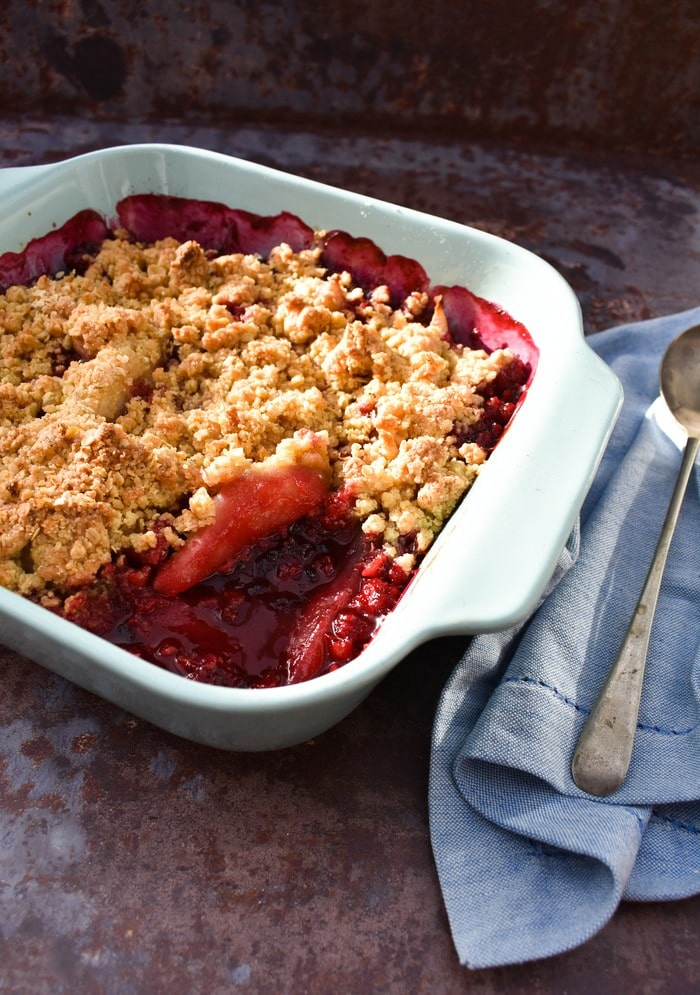 Close up of Scottish Blackberry & Pear Crumble