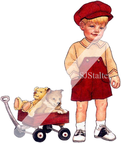 Printable Little Boy and Red Wagon Clip Art