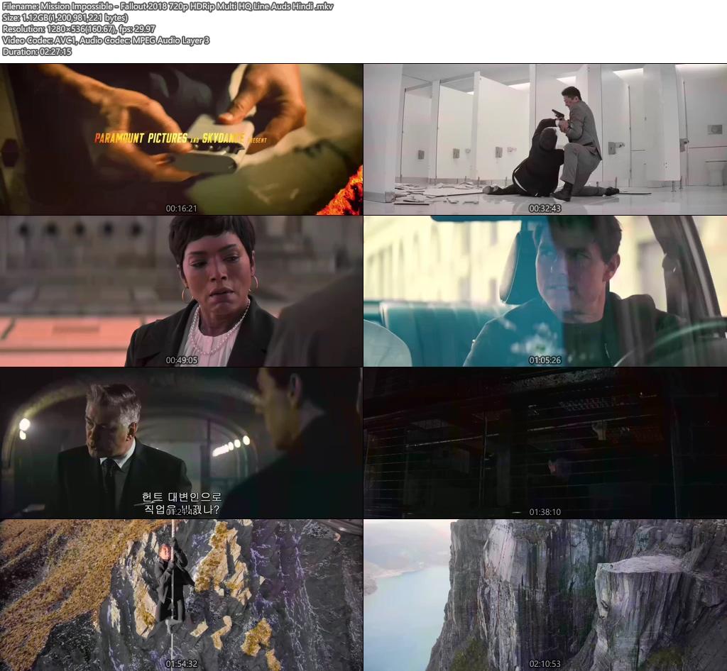 Mission Impossible - Fallout 2018 720p HDRip Multi HQ Line Audo Hindi | 480p 300MB | 100MB HEVC Screenshot