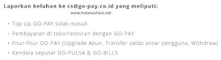 alamat email cs customer service gopay go-pay gojek go-jek indonesia