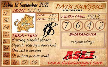 Prediksi Datu Sunggul SGP Sabtu 18 September 2021