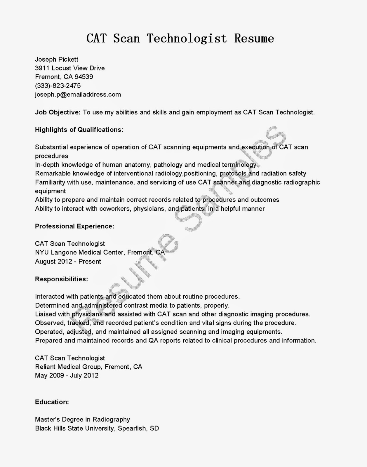 Ct Tech Resume Resume Samples Cat Scan Technologist Resume Sample