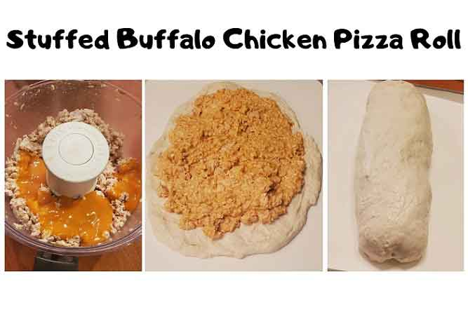 this is a collage of how to make stuffed buffalo chicken pizza roll