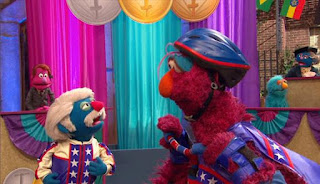 It ıs Telly's turn, but he falls of and gets 0 point. Coach Pogolyi does not think that Telly will succeed the game. Sesame Street Episode 4421, The Pogo Games, Season 44.