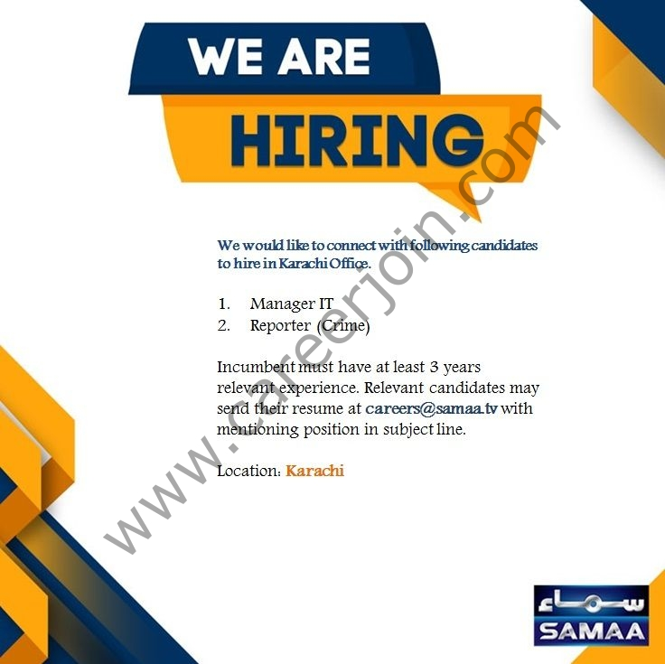Samaa TV Jobs September 2021