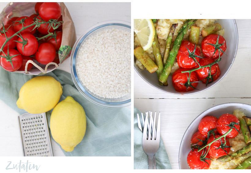 Zitronenrisotto mit Tomaten und grünem Spargel