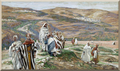 """""""He Sent them out Two by Two"""" -- by James Tissot (PD-1923)"""