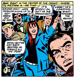 Amazing Spider-Man #43, John Romita panel, Mary Jane points at the dreamiest