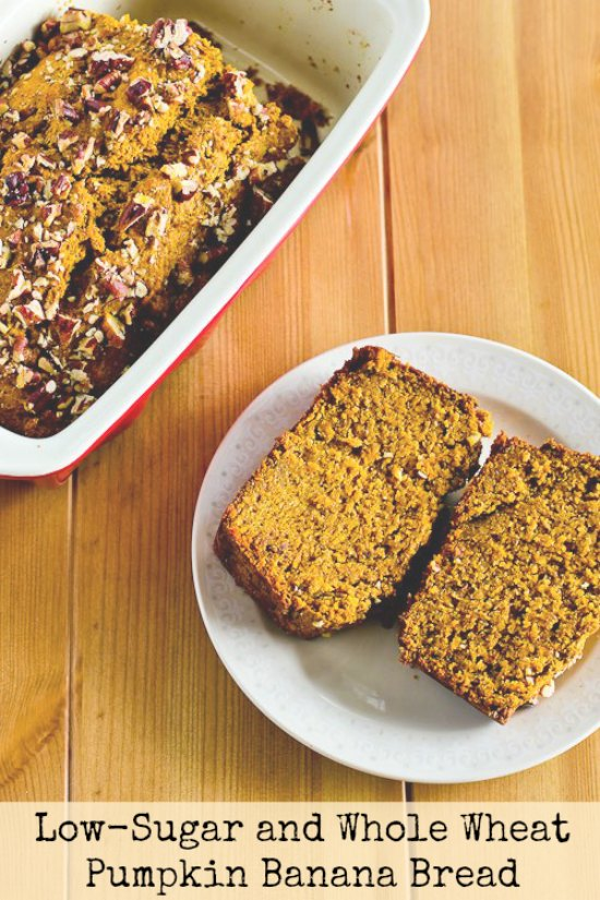 Low-Sugar and Whole-Wheat Pumpkin Banana Bread Recipe found on KalynsKitchen.com
