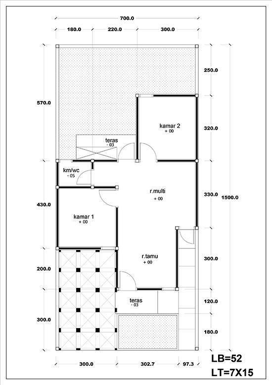 Denah rumah minimalis tipe 45 2 kamar tidur 1 lantai