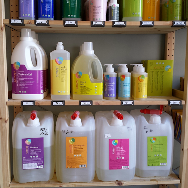 Bulk liquid laundry detergents,  all purpose cleaner and washing-up liquid at Mølleren Sylvia in Oslo