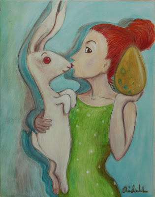 #AideLL #romantic art #easter #rabbit #egg #colden #illustration #White rabbit #nursery art