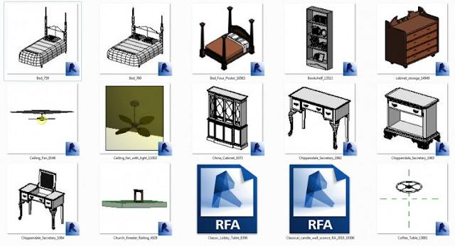 [REVIT] REVIT TABLES, CHAIRS, BEDS, SHELVES, CLASSIC STYLE