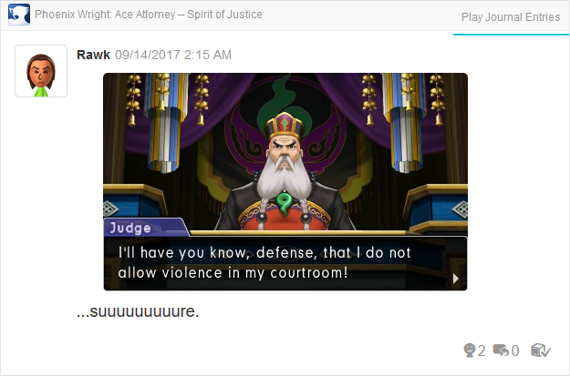 Phoenix Wright Ace Attorney Spirit of Justice Judge does not allow violence