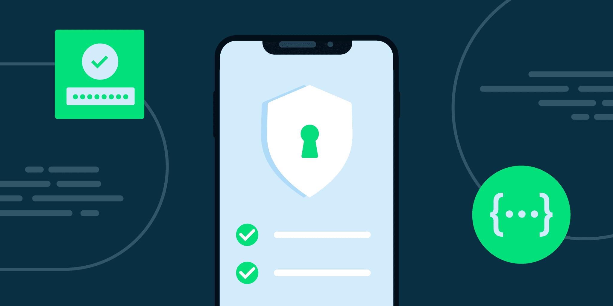 Illustration of a phone with a security symbol