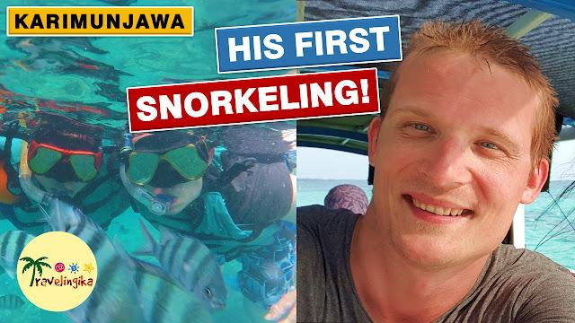 bule snorkeling di karimunjawa