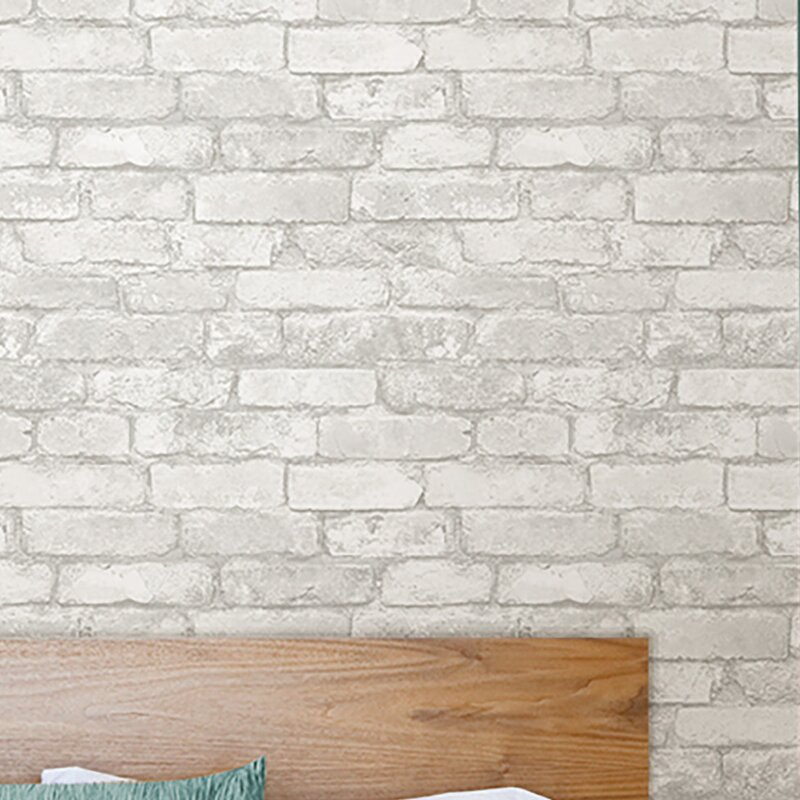 Gray whitewashed brick peel and stick wallpaper
