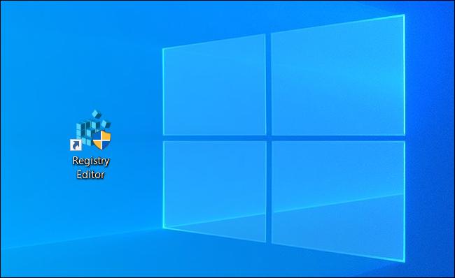 رمز اختصار محرر التسجيل على سطح مكتب Windows.