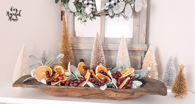dough bowl dried oranges cranberry garland