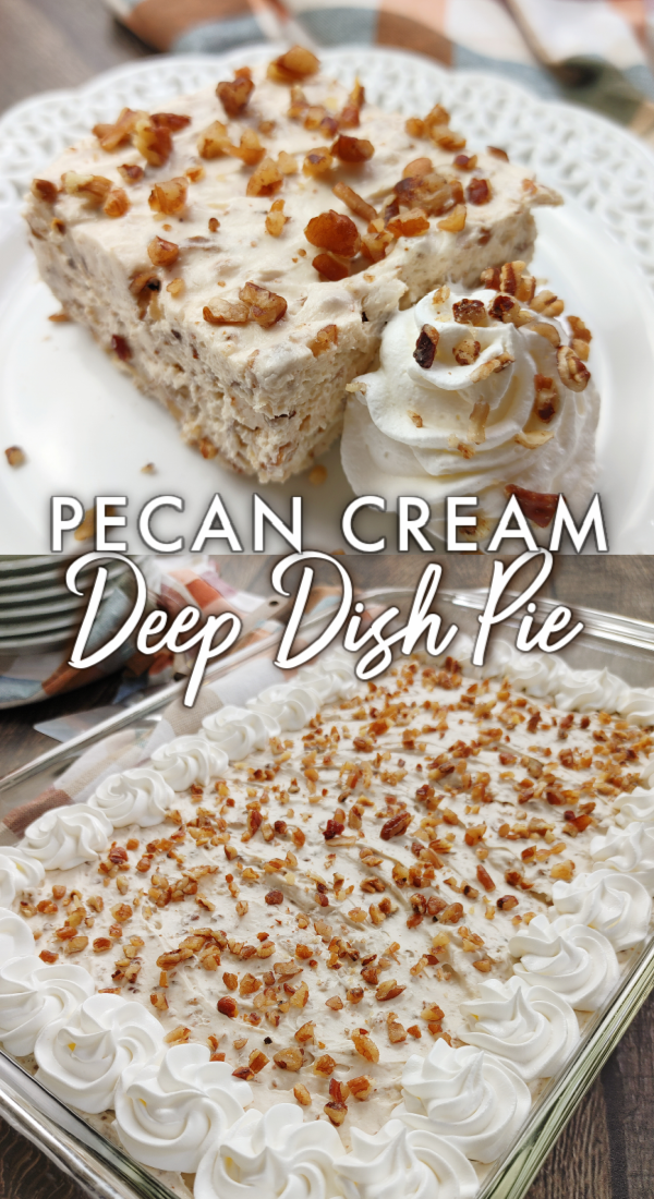 Pecan Cream Deep Dish Pie! An easy dessert recipe with a no-bake filling made from brown sugar swirled with warm melted butter mixed with cream cheese, pecans and whipped topping over a simple pecan shortbread crust. Special enough for Thanksgiving and Christmas but easy enough for anytime!