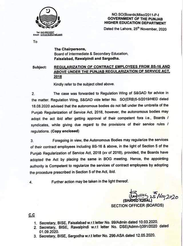 CLARIFICAQTION OF REGULARIZATION OF CONTRACT EMPLOYEES FROM BS-16 AND ABOVE IN AUTONOMOUS BODIES