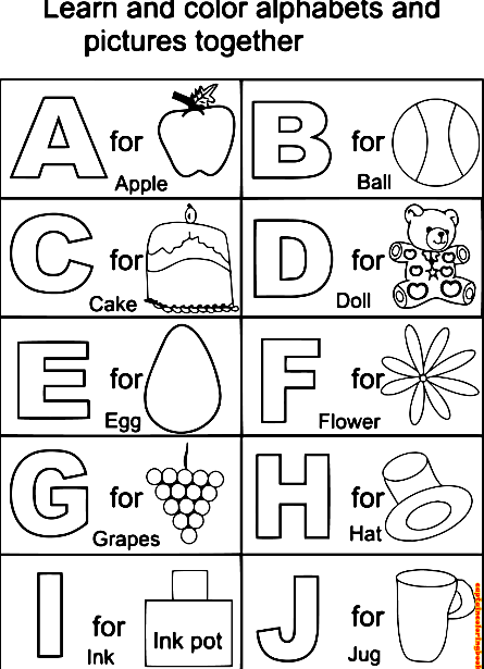 Kids ABC Alphabet Coloring and Learning page