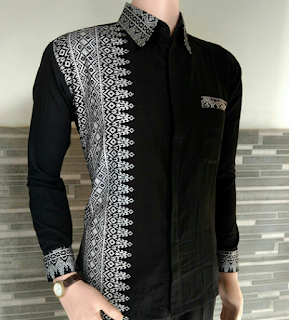 Baju Batik Pria Lengan Panjang Kombinasi Kain Polos
