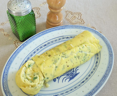 Rolled Baked Omelette with Spring Herbs & Cheese