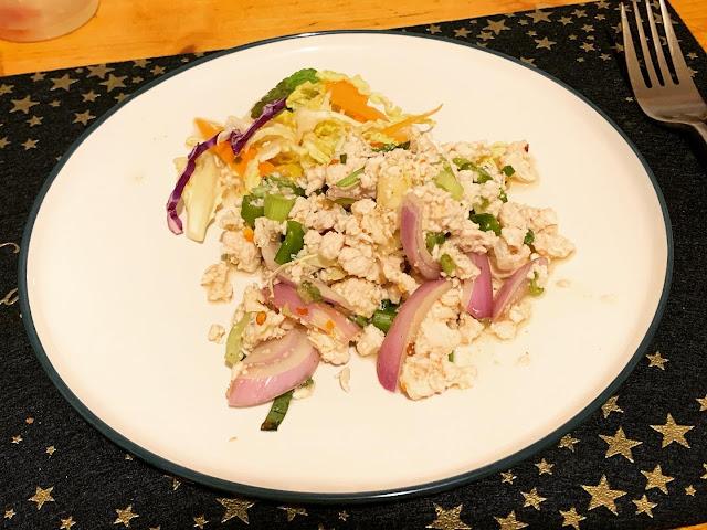 Plate of Thai minced chicken salad