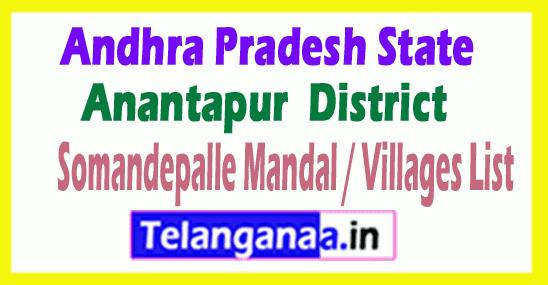 Somandepalle Mandal Villages Codes Anantapur District Andhra Pradesh State India