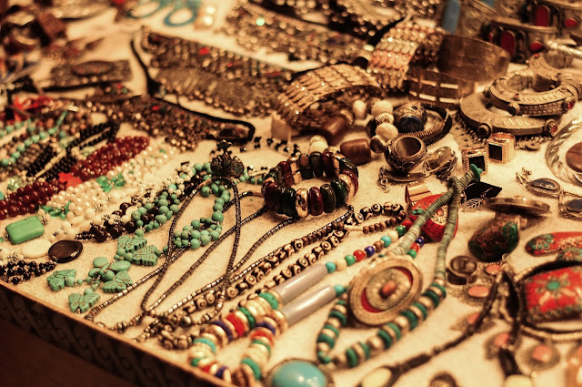 Costume jewelry on display.