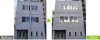 環境対応型特殊洗浄G-Eco工法でビルのサイディング外壁を施工