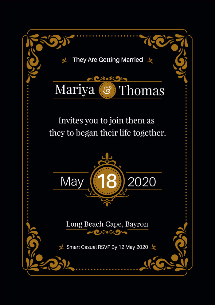 Elegant Wedding Invitation Card With Black Background